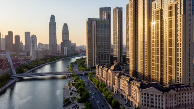 vidéos et rushes de timelapse of tianjin city - chinois