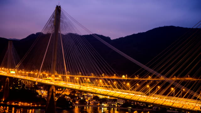 t/l timelapse of ting kau bridge in hong kong - motorway stock videos & royalty-free footage