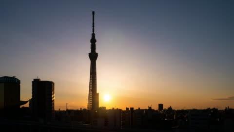 time-lapse of tokyo landmark tokyo sky tree sunrise , asakusa japan - tokyo japan stock videos & royalty-free footage