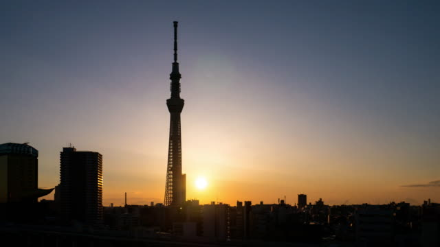 time-lapse of tokyo landmark tokyo sky tree sunrise , asakusa japan - town stock videos & royalty-free footage