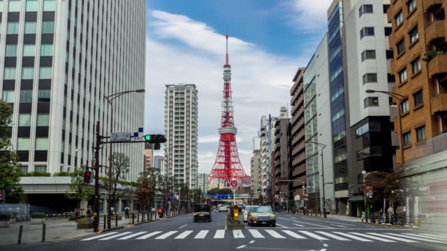 Timelapse of tokyo tower and traffic in central tokyo