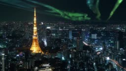 Timelapse of Tokyo Tower with aurora