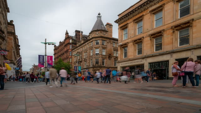 Time-lapse of Tourist Pedestian crowded Buchanan shopping street in Glasgow Scotland UK