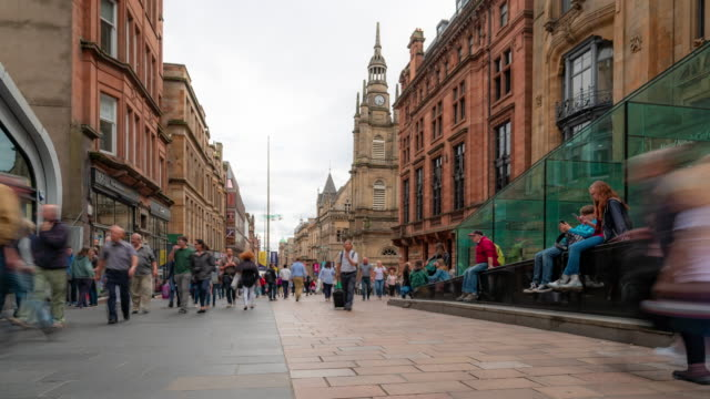 time-lapse of tourist pedestian crowded buchanan shopping street in glasgow scotland uk - scottish culture stock videos & royalty-free footage