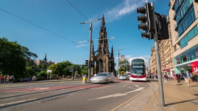 Time-lapse of Tourist Pedestrian crowded Princes shopping street in Edinburgh Scotland UK