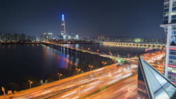 Timelapse of traffic and architecture in Seoul City ,South Korea.