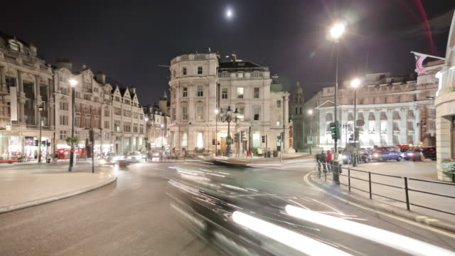 Time-lapse of traffic at Charing Cross in London.
