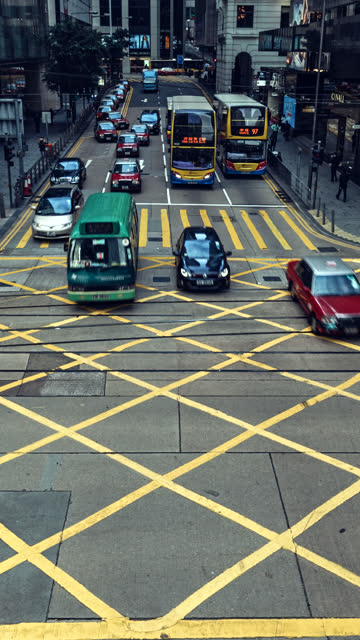 time-lapse of traffic crossing des veoux road central on hong kong island.for vertical display. - hong kong island stock videos & royalty-free footage