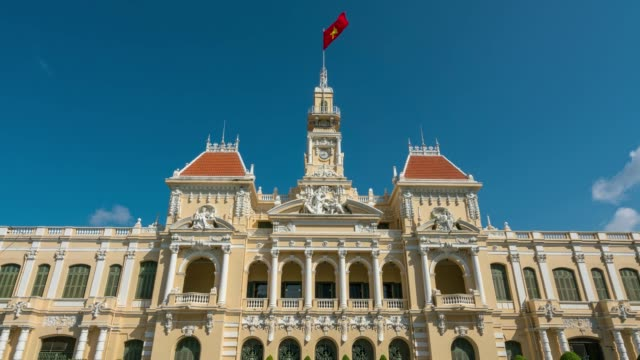 Timelapse of traffic on the road at front of Ho Chi Minh City Hall in Ho Chi Minh City Capital of Vietnam