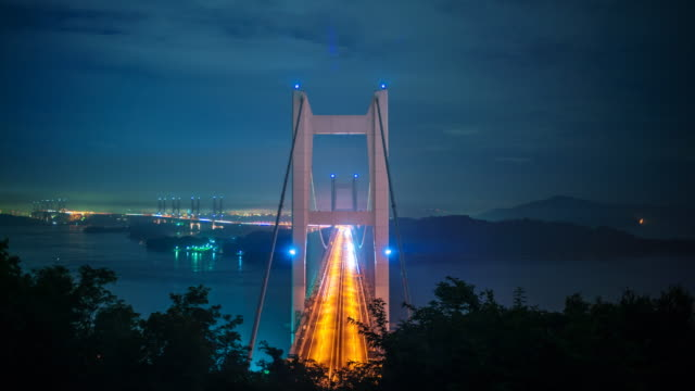 time-lapse of traffic on the seto ohashi bridge - suspension bridge stock videos & royalty-free footage