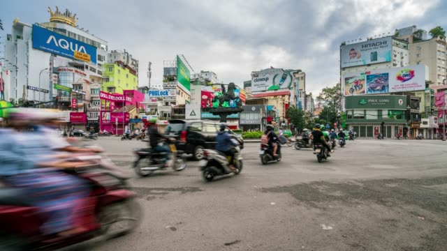 timelapse of traffic rush hour at ho chi minh city in vietnam - ho chi minh city stock videos & royalty-free footage