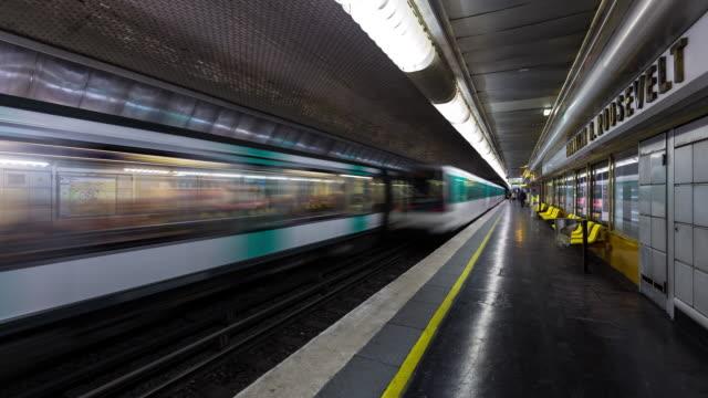 timelapse of trains in franklin d roosevelt metro - underground station platform stock videos & royalty-free footage