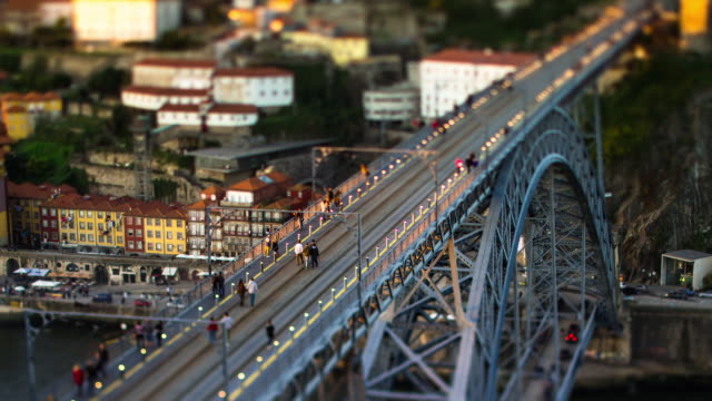 Timelapse of Trams on Ponte Luís I Bridge, Porto, Portugal