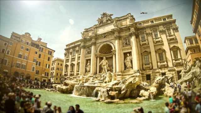 timelapse of trevi fountain in rome - rome italy stock videos and b-roll footage