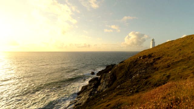 Time-lapse of Trevose Lighthouse at sunset, Cornwall, UK