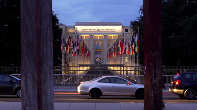 timelapse of united nation in europe - united nations building stock videos and b-roll footage