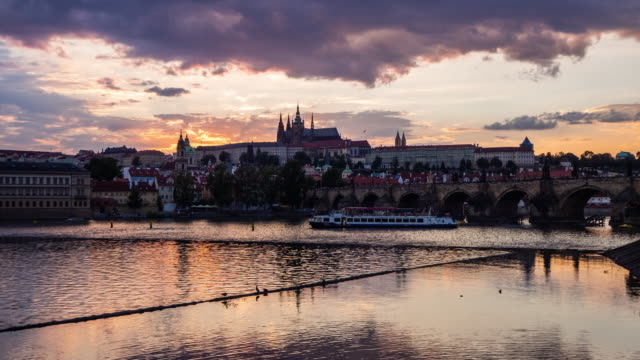 Timelapse of Vltava River with the St Vitus Cathedral in backgroud, Prague