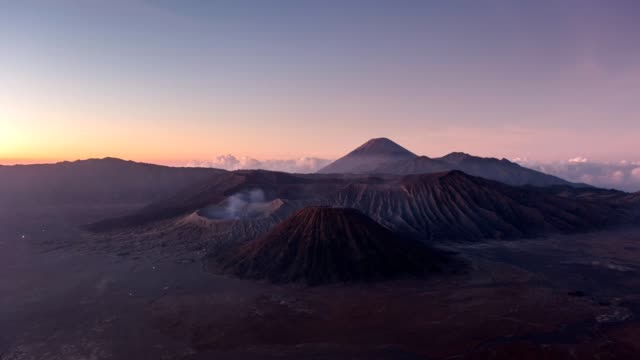 Time-lapse of Volcano mount an active, Bromo, Batok, Semeru at dawn. Bromo Tengger Semeru National Park, East Java, Indonesia