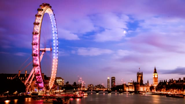 timelapse of westminster city at dusk, london, uk - london bridge england stock videos & royalty-free footage