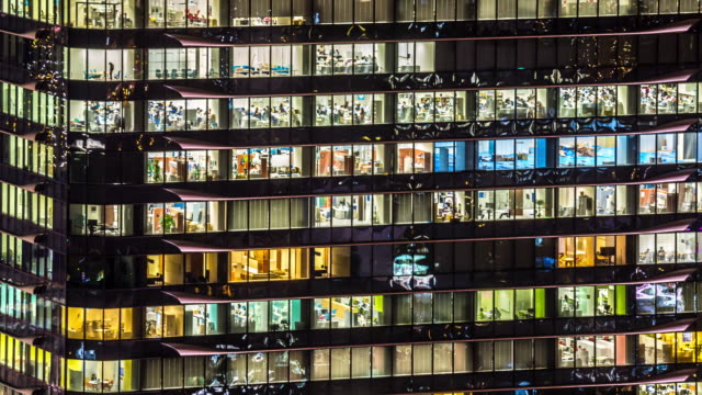 4K Time-lapse: Office Building Windows in Osaka at Night