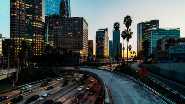 timelapse oftraffic in downtown los angeles, california - downtown stock videos & royalty-free footage
