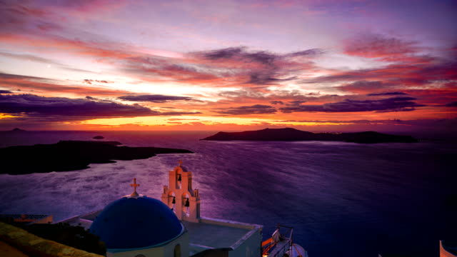 time-lapse: oia in santorini at a beautiful sunrise - oia santorini stock videos & royalty-free footage