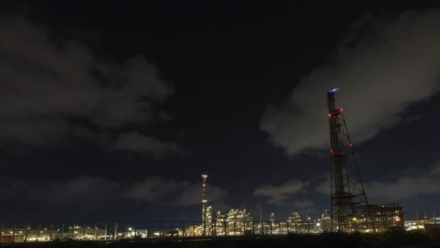 4K time-lapse: Oil Refinery with tube and oil tank at twilight time