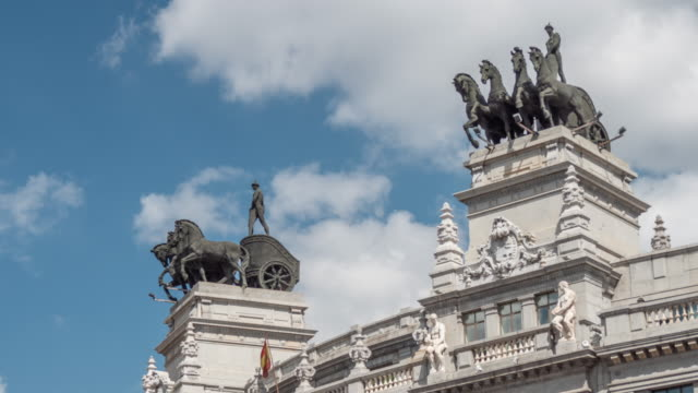 timelapse old iron carriages at the top of the building, madrid - courtyard stock videos & royalty-free footage