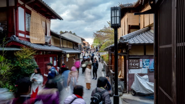 4k timelapse - old street of gion, kyoto - gion stock videos and b-roll footage