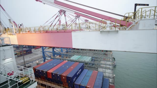 vídeos y material grabado en eventos de stock de timelapse on board cma cgm sa's benjamin franklin container ship as gantry cranes load shipping containers and day turns to night at the xiamen... - benjamín franklin