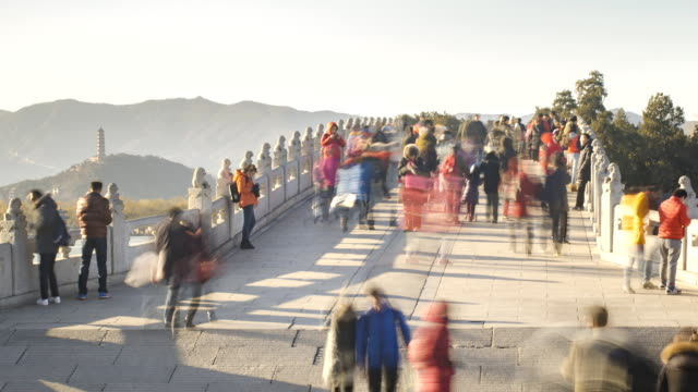 Timelapse :on the bridge at Beijng Summer Palace in winter