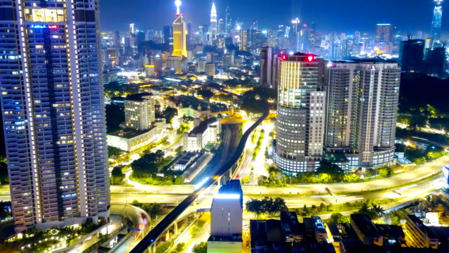 Timelapse or Hyperlapse Kuala Lumpur City skyline from aerial view at night