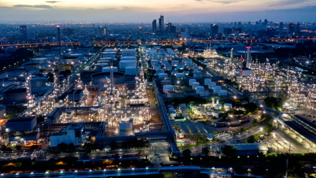4k timelapse or hyperlapse of aerial of industrial park with oil refinery in asia - pipeline stock videos & royalty-free footage