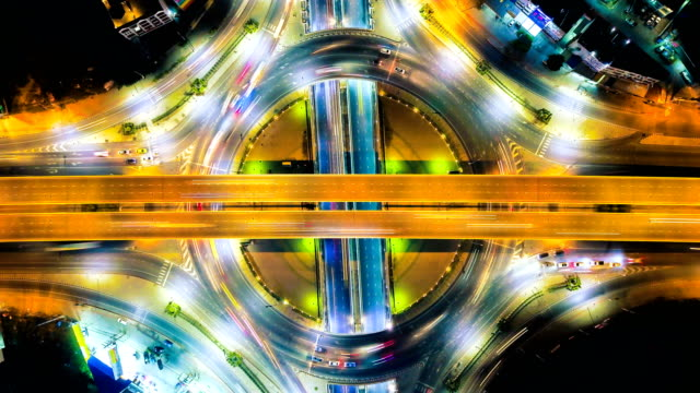 Timelapse or Hyperlapse of Highway traffic in Bangkok Thailand,aerial view