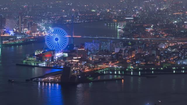 4 K Time-lapse: Osaka baai op mooi in de nachttijd met leuke parkeren op mooi in Japan