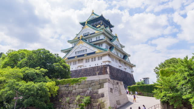 4k timelapse : osaka castle in osaka, japan - ancient stock videos & royalty-free footage