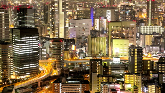 HD Time-lapse: Osaka Cityscape in action