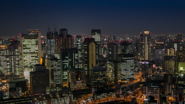 アクションの時間経過は: 大阪都市の景観 - 高層ビル点の映像素材/bロール