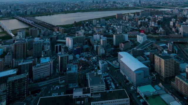 HD Time-lapse: Osaka Cityscape in sunset