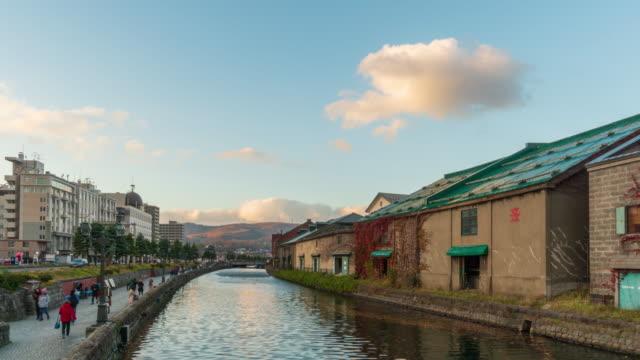 4k time-lapse otaru canal in twilight , otaru , hokkaido, japan (tilt-down) - hokkaido stock videos & royalty-free footage