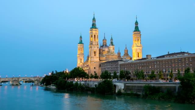 HD: Timelapse: Our Lady of the Pillar Basilica Zaragoza, Spain
