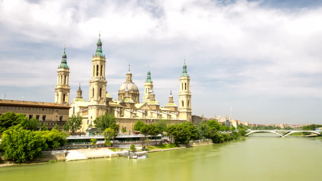 HD: time-lapse: Our Lady of the Pillar Basilica Zaragoza, Spain