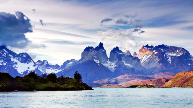 timelapse over lake in torres del paine, patagonia, chile - argentina stock videos & royalty-free footage