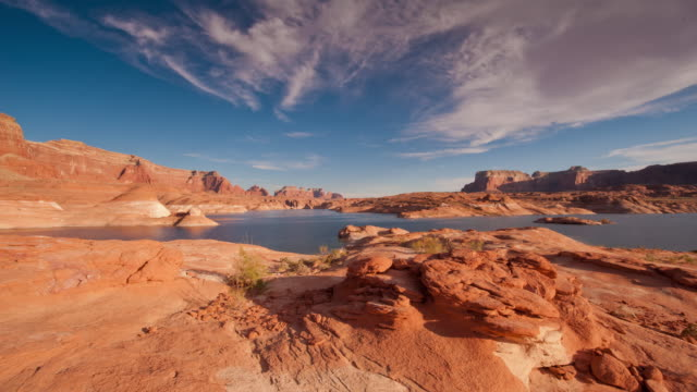 timelapse over lake powell at sunset - sandy utah stock videos and b-roll footage