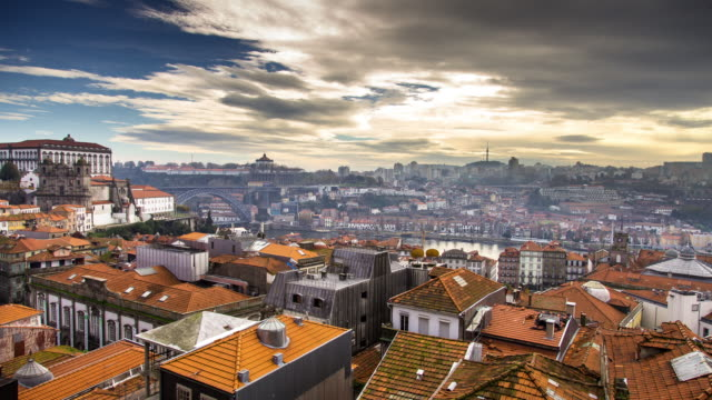 timelapse overlooking porto by day. - porto district portugal stock videos & royalty-free footage