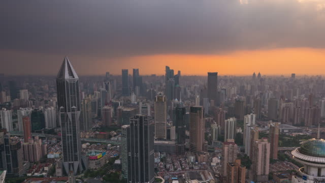 Timelapse Pan Across Shanghai Cityscape with Red Sky
