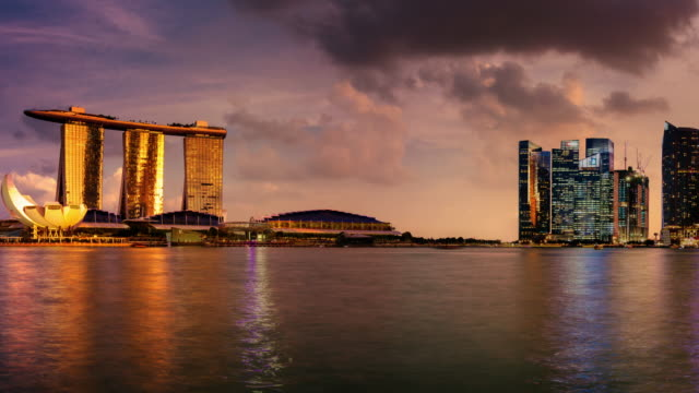 Timelapse Pan from Marina Bay Sands to Esplanade in Night and Day, Singapore