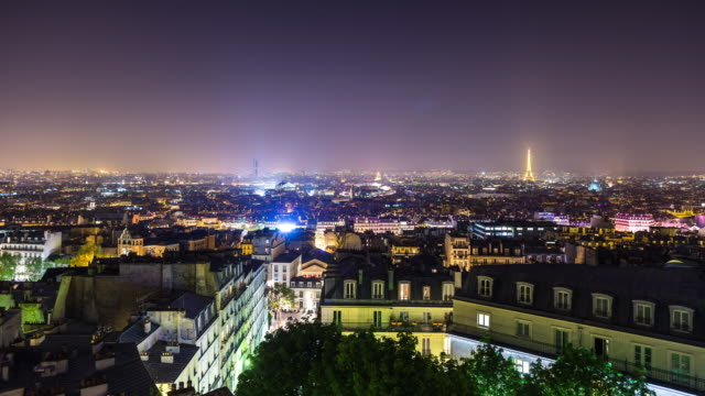 Timelapse Pan of Paris from Montmartre at Night