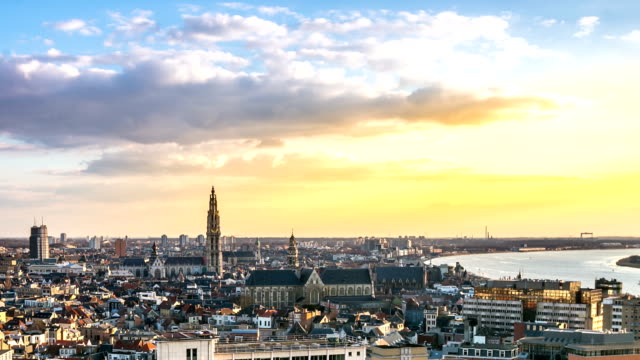 HD time-lapse panning: Aerial Antwerp ancient town Belgium sunset