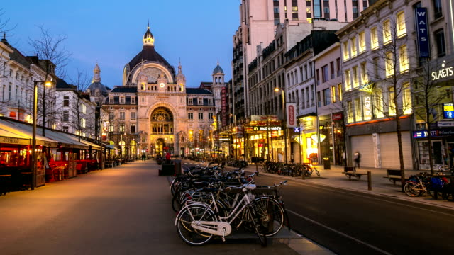 HD time-lapse panning: City Pedestrian Antwerp Central Station sunset Belgium